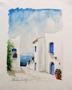 Hakan Derya Ömürlüoğlu: Bodrum resimleri to drawing water Easy Watercolor, Watercolor Sketch, Watercolor Illustration, Watercolour Painting, Painting & Drawing, Watercolor Trees, Tattoo Watercolor, Watercolor Animals, Watercolor Background