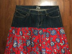 A personal favorite from my Etsy shop https://www.etsy.com/listing/386623676/up-cycled-peasant-skirt-old-navy-jeans