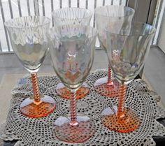 Set of 5 Stemware Vintage Goblet Pink/Peach Glass Water Goblets    Myeuropeantouch - Glass on ArtFire