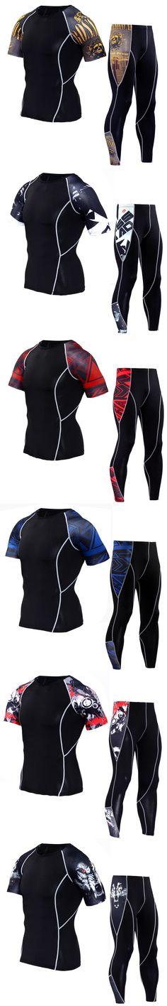 crossfit Fitness Men's Set MMA rash guard Men's Tights Tops Coats Set Functional T-Shirts Men's Thermal Underwear S-4XL