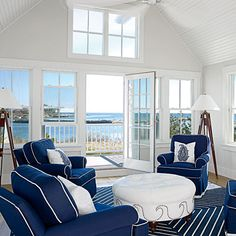 Kennebunkport, Maine, cottage sitting room | Coastalliving.com
