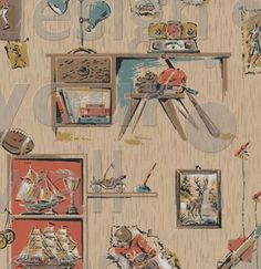 Sports retro custom vintage wall paper: 0035a | Children's Vintage Wallpaper