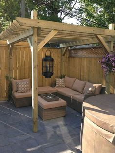 The pergola kits are the easiest and quickest way to build a garden pergola. There are lots of do it yourself pergola kits available to you so that anyone could easily put them together to construct a new structure at their backyard. Backyard Seating, Backyard Patio Designs, Small Backyard Landscaping, Backyard Pergola, Pergola Designs, Pergola Plans, Backyard Ideas, Landscaping Ideas, Cheap Pergola