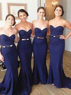 Buy Long Dark Blue Prom Dress - Mermaid Strapless with Gold Belt 2016 Bridesmaid Dresses under US$ 109.99 only in SimpleDress.