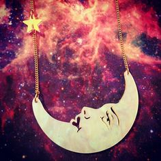 Our La Luna Moon Small Necklace is laser cut from marbled opal Perspex in our London studio and finished with an iridescent star charm: http://www.tattydevine.com/la-luna-moon-small-necklace-opal.html