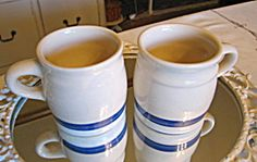Friendship Pottery blue stripe mugs for sale at More Than McCoy on TIAS!