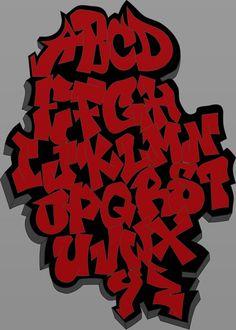 Red graffiti alphabet
