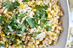 Grilled Corn & Cheddar Quinoa  1 cup uncooked quinoa, rinsed  2 cups low-sodium chicken broth  4 ears of sweet corn, grilled  2 TBSP olive oil  1 tspn salt & pepper (each)  2 TBSP butter  4 oz cheddar cheese  1/4 cup fresh cilantro, chopped