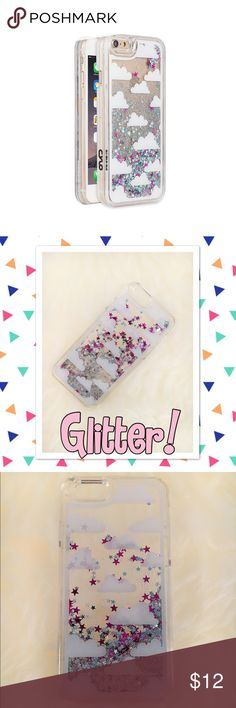 Glitter and Sparkle iPhone 6/6s Case Hard iPhone 6/6s case by Cylo featuring clouds, glitter and star confetti. The glitter and stars move within the case! Super cute! New and comes in packaging, although box is dented. Item has not been used. Accessories Phone Cases