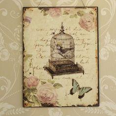 Gabbia-uccelli-e-Rosa-Placca-shabby-chic-vintage-da-parete-floreali-farfalla
