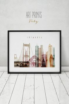 Istanbul watercolor print, Istanbul watercolor poster, Wall art, Istanbul skyline, Turkey cityscape, fine art prints, ArtPrintsVicky.