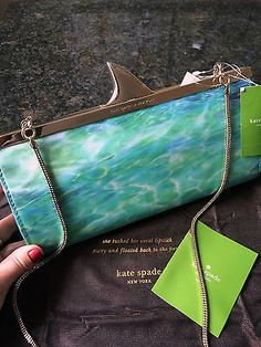 KATE-SPADE-SOLD-OUT-SHARK-Melly-Splash-Out-Photo-Pool-CLUTCH-NWT-dust-bag