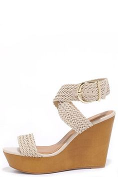"""You'll be vacationing in style when you board wearing the Cruise Control Beige Woven Platform Wedges! Woven vegan leather forms a wide toe strap and quarter strap that secures around the ankle with a gold buckle. 2.25"""" toe platform."""