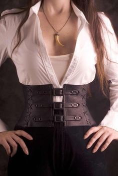 Exquisite Black Leather Corset Belt / Waist Cincher - Custom made to your size. $250.00, via Etsy.