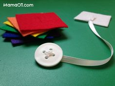 Use a button snake to help your child learn to button! This post has 30 OT life hacks designed to make life easier for kids and their grown ups! #OTlifehack