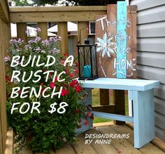 Here's a simple project that you can knock off in less than half an hour!  All it took to build this rustic bench is one 2x6x10, half a 2x4x8 and a handful of 2…