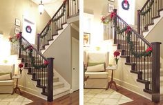 Instead of wrapping the garland around the banister, use (red) ribbon and tie in bows to hold the garland to the railing.  Need to remember this next Christmas!
