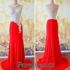 Amazing red long V-neckline beaded evening dresses, prom dress 2015 #promdress