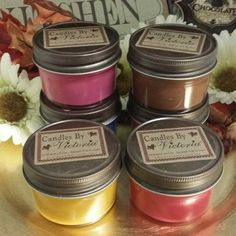 Six of our 4 oz. Mini Jelly Jar candles, you choose your scents. Great way to sample fragrances and these little babies pack a punch!