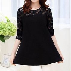 Lace Cutout Tunic in Black, 32% discount @ PatPat Mom Baby Shopping App