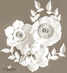 All White Backdrop Paper Flower Backdrop Wedding by APaperEvent