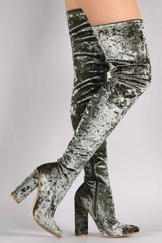 Crushed Velvet Pointy Toe Chunky Heel OTK Boots