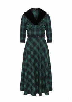 VOODOO VIXEN VINTAGE RETRO SWING FLARED AUTUMN WINTER 50/'s GREEN DITA DRESS