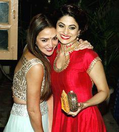 Esha Deol and Shamita Shetty at Ekta Kapoor's #Diwali bash. #Bollywood #Fashion #Style #Beauty #Hot #Sexy #Desi