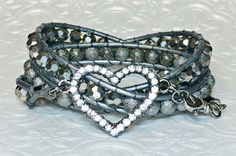 Gunmetal Stardust and Silver Crystal Triple Wrap by DesignsByJen1,