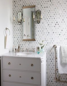 Tiles are Ming green & Thassos marble Sarah Richardson