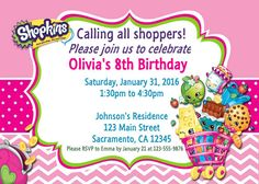 Shopkins Personalized Customized Birthday By ElliannaDesigns Invitations Photo Chevron