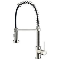 @Overstock.com - VIGO Stainless Steel Pull-Out Spray Kitchen Faucet - This Vigo stainless steel pull-out kitchen faucet is a beautiful addition to your kitchen. The sleek faucet gives the kitchen a modern feel. The faucet features a single-lever side mixer, two-function spray, and a universal ceramic disk cartridge.