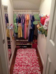 Princess dress up closet--under stairs! Under Stairs Playroom, Closet Under Stairs, Playroom Closet, Kid Closet, Basement Stairs, Closet Bedroom, Closet Ideas, Under Stairs Playhouse, Basement Ideas