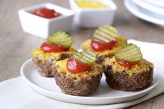 Substitute panko with almond flour (or other low carb option); sugar free ketchup -- Cheeseburger Mini Meatloaves Recipe | Hungry Girl