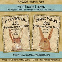 Printable Farmhouse Labels - Victorian Easter Rabbits
