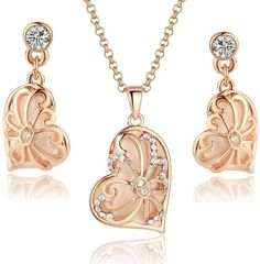 Rose Gold Tone Vintage Asymmetrical Heart Pendant Necklace and Earrings Set for Women 3018701  ---  Price : $59.95   ----   Total Reviews : 15 -> http://girlwardrobe.com/?post_type=product&p=2539