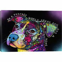 """Canvas wall art with a graffiti-inspired pitbull motif. Made in the USA.   Product: Wall artConstruction Material: Cotton canvas and pine woodFeatures:  Made in the USAReady to hang Dimensions: Medium: 18"""" H x 26"""" W x 0.75"""" D Large: 26"""" H x 40"""" W x 0.75"""" D"""