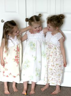 Super easy nightgowns!  @Holly Jones and @Trisha Thurber don't these remind you of the jammies Mom made us?  Love these. Girls Dresses, Flower Girl Dresses, Wedding Dresses, Flowers, Fashion, Bride Dresses, Moda, Wedding Gowns, Florals