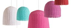 #lámparas de #mimbre en colores