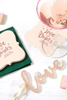 Custom Blush with Kraft back Nouveau Coaster with Shiny Rose Quartz Foil will impress guests like no other. Make this spring party unforgettable. Spring Party, Spring Wedding, Fashion Cakes, Wedding Napkins, Wedding Matches, Getting Engaged, For Your Party, Valentines, Valentine Cards