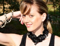 Elegant Black Satin Flowers Peter Pan Necklace by colinedesign, $20.90