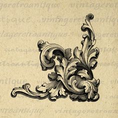 Floral Leaf Corner Design Element Image Printable Download Digital Graphic Antique Clip Art. High resolution, high quality digital image illustration from vintage artwork for making prints, fabric transfers, tea towels, and more. Great for use on etsy items. This digital graphic is high quality, high resolution at 8½ x 11 inches. Transparent background version included with every graphic.