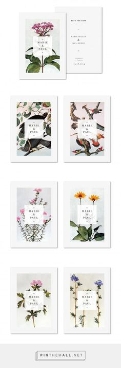 botanical illustrations save the date invitation typography