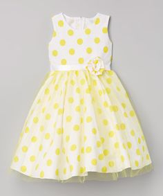 Look at this #zulilyfind! Yellow Polka Dot Sheer-Overlay Dress - Infant, Toddler & Girls #zulilyfinds