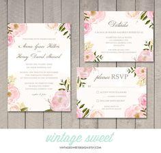 Vintage Floral Wedding Invitation, RSVP, Details Card by Vintage Sweet, $28.00 vintagesweetdesign.etsy.com Blush   Gold   Floral