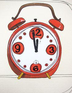 Mid Century Mod Vintage Clock art Illustration - Wait Wait. $30,00, via Etsy.