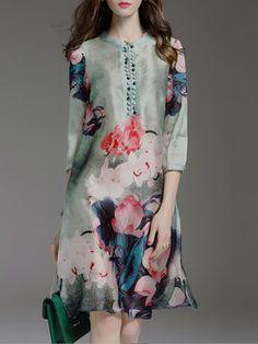 Green Floral-print 3/4 Sleeve Midi Dress