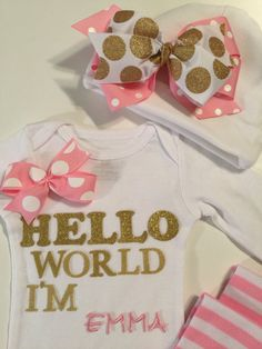 NEWBORN Baby outfit Hello World onesie set by MelleeAndMeBows