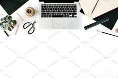 Flat lay workspace with laptop by Floral Deco on @creativemarket