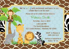 Create Own Safari Baby Shower Invitations Designs Ideas